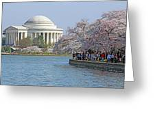 The Jefferson Memorial With Cherry Blossoms And A Lot Of People Greeting Card