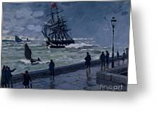 The Jetty At Le Havre In Bad Weather Greeting Card