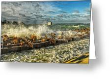 The Jetty Storm Greeting Card