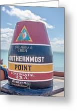 The Key West Florida Buoy Sign Marking The Southernmost Point On Greeting Card