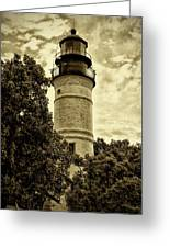 The Key West Lighthouse In Sepia Greeting Card