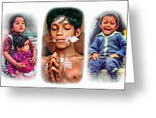 The Kids Of India Triptych Greeting Card