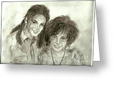The King Of Pop And Elizabeth Taylor Greeting Card by Nicole Wang