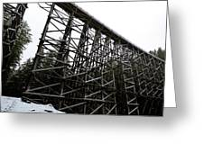 The Kinsol Trestle Panorama View On Snowy Day 1. Greeting Card