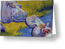 The Kiss - Hippos Greeting Card