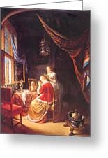 The Lady At Her Dressing Table 1667 Greeting Card