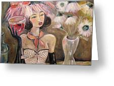 The Lady In The Flower Hat Greeting Card