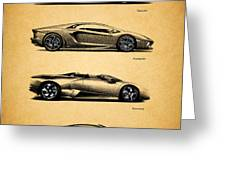 The Lamborghini Collection Greeting Card by Mark Rogan