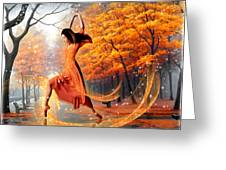 The Last Dance Of Autumn - Fantasy Art  Greeting Card