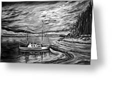 The Last Sunset Before Sailing Black And White Greeting Card