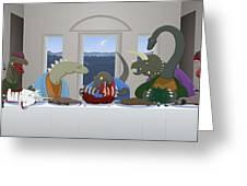 The Last Supper Of Raptor Jesus Greeting Card by Greasy Moose