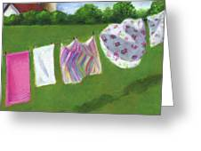 The Laundry On The Line Greeting Card by Joyce Geleynse