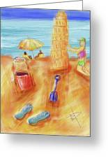 The Leaning Sand Castle Greeting Card