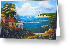 The Light House By The  Sea Greeting Card