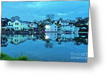 The Lights Come On In Mylor Bridge Greeting Card