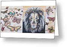 The Lion And The Butterflies Greeting Card