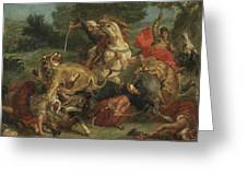 The Lion Hunt Greeting Card