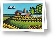 The Little Farm On The Grassy Hill Greeting Card