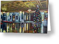 The Lobby At Christmastime Greeting Card by Bobbi Baltzer-Jacobo