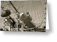 The London Eye In Sepia Greeting Card