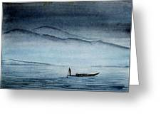 The Lonely Boat Man Greeting Card