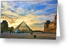 The Louvre At Sunset Greeting Card