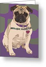 The Love Pug Greeting Card by Kris Hackleman