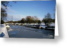 The Macclesfield Canal At Poynton In Winter And Frozen  Cheshire England Greeting Card