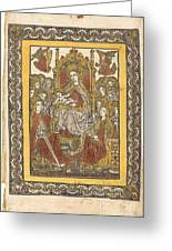 The Madonna Enthroned With Eighteen Holy Women Greeting Card