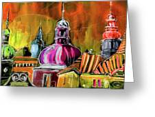 The Magical Rooftops Of Prague 01 Greeting Card by Miki De Goodaboom