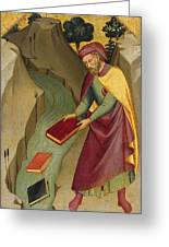 The Magus Hermogenes Casting His Magic Books Into The Water Greeting Card