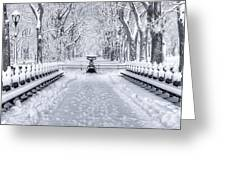 The Mall In Snow Central Park Greeting Card