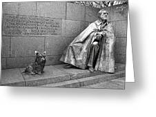 The Man And His Dog Greeting Card