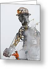 The Man Engine And His Man Greeting Card
