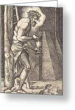The Man Of Sorrows At The Foot Of The Cross Greeting Card