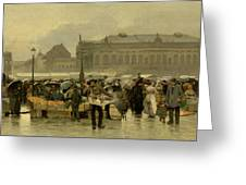 The Market In Antwerp Greeting Card