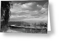 The Marsh-in Black And White Greeting Card