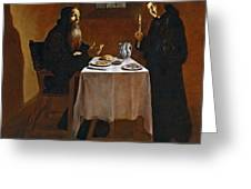The Meal Of Saint Benedict Of Nurcia Greeting Card