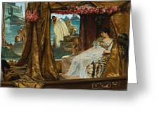 The Meeting Of Antony And Cleopatra By Lawrence Alma-tadema Greeting Card
