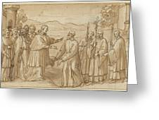 The Meeting Of San Carlo Borromeo And San Filippo Neri Greeting Card