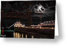 The Michipicoten's Departure Under A Full Moon Greeting Card