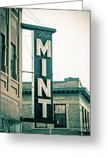 The Mint Classic Neon Sign Livingston Montana Greeting Card
