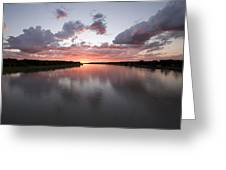 The Missouri River At Sunset Reflects Greeting Card