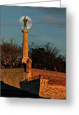 The Moon Rising Behind The Victor Statue In Belgrade In The Golden Hour Greeting Card