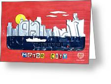 The Motor City - Detroit Michigan Skyline License Plate Art By Design Turnpike Greeting Card