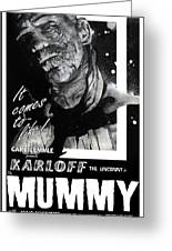 The Mummy 1932 Movie Poster With Tagline Greeting Card