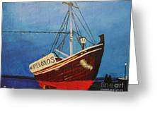 The Mykonos Boat Greeting Card