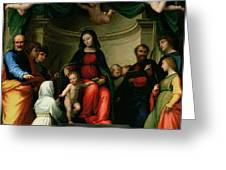 The Mystic Marriage Of St Catherine Of Siena With Saints Greeting Card