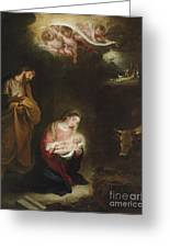 The Nativity With The Annunciation To The Shepherds Beyond Greeting Card