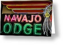 The Navajo Lodge Sign In Prescott Arizona Greeting Card